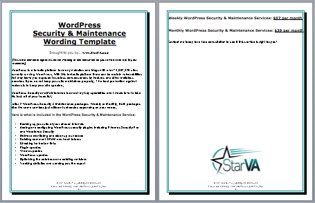WordPress Maintenance and Security Wording template